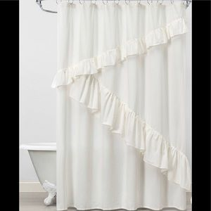Anthropologie boho ruffle shower curtain and rings